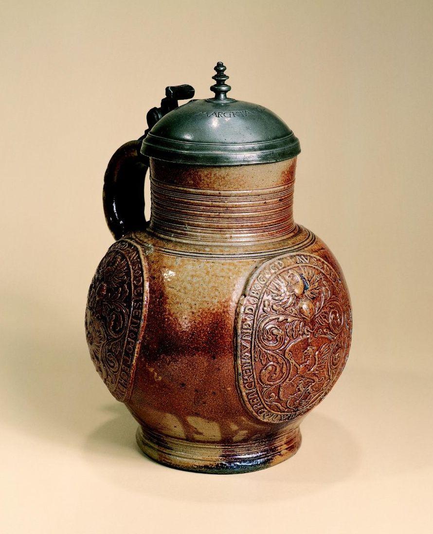 early 16th century saltglazed stoneware raeren-jug-1604-datiert