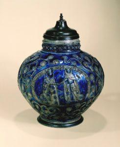 early 16th century saltglazed stoneware raeren-steinzeugkrug-1602-datiert