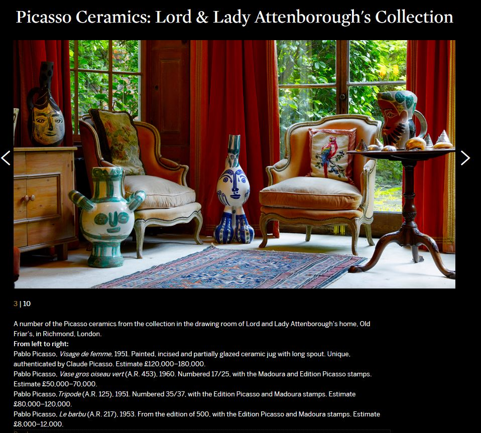 Sotheby's Picasso Ceramics- Lord - Lady Attenborough's - Collection