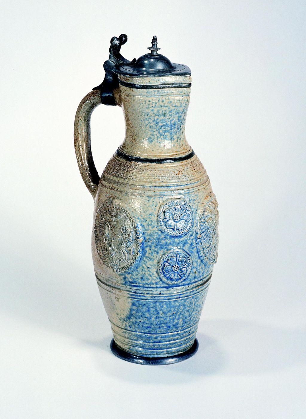 antique-17th century-german stoneware waldenburg-stoneware-jug-ca-1630