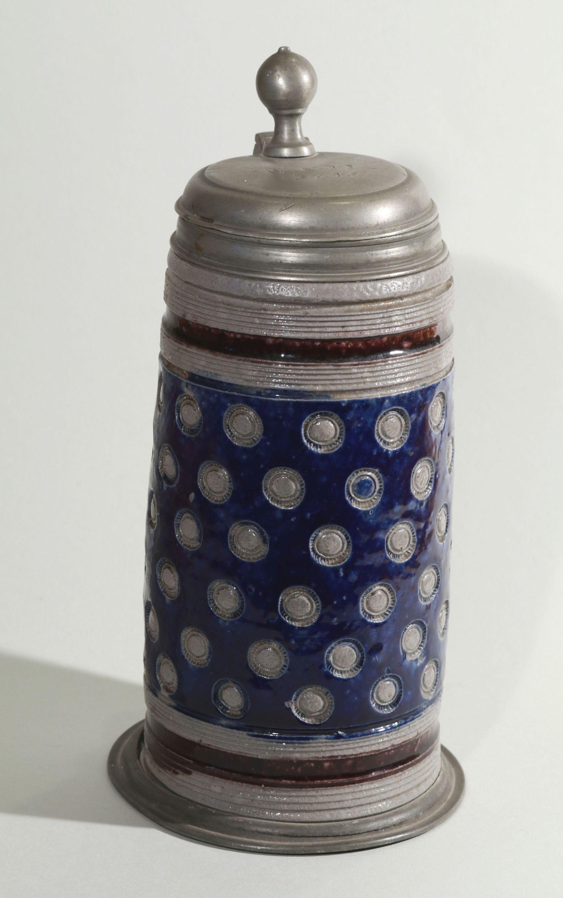 muskau-steinzeug-walzenkrug-stempel dekor-1745- blue and manganese salt glazed stoneware-tankard