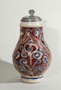 westerwald-westerwälder-birnkrug-um-1680 - blue and manganese salt glazed stoneware - jug