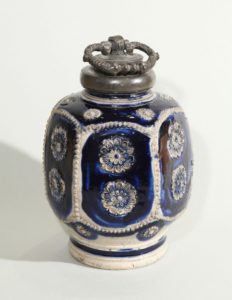 7th century westerwald blue salt glazed stoneware bottle
