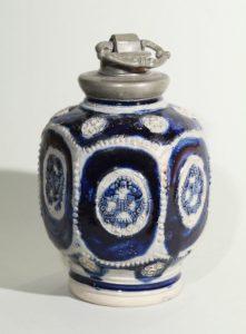 17th century blue salt glazed stoneware-westerwald-kruke-flasche-ca-1690