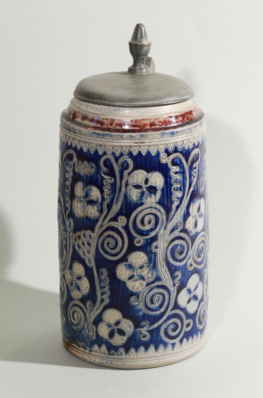 westerwald-tankard-walzenkrug-ritzdekor-um-1760 - blue salt glazed stoneware - stein