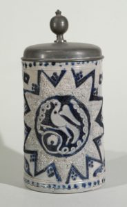 westerwald-westerwälder-walzenkrug-um-1760 - incised blue salt glazed salt glazed stoneware tankard