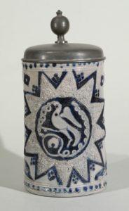 westerwald-tankard-walzenkrug-um-1760 - incised blue salt glazed salt glazed stoneware tankard