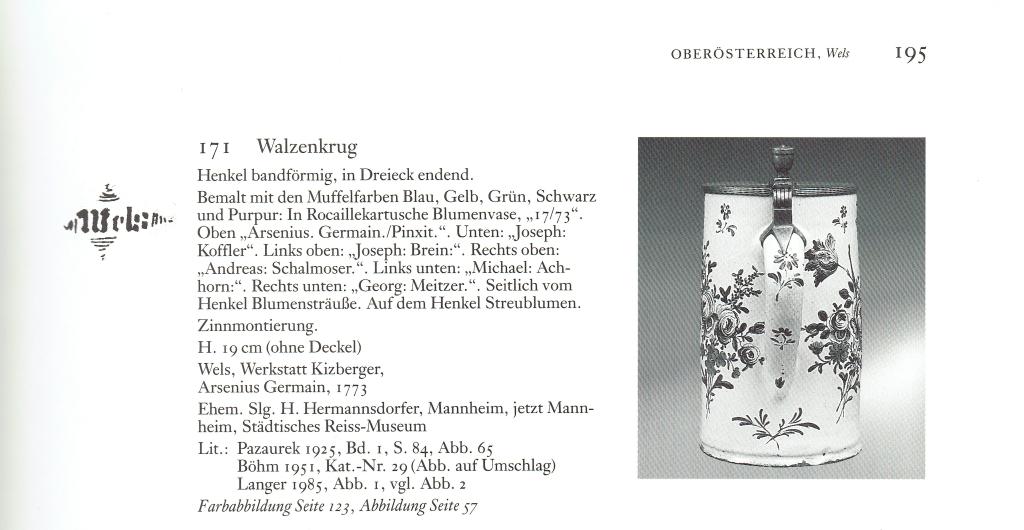 Arsenius Germain Welser Hausmalerkrug Vergleich Literatur