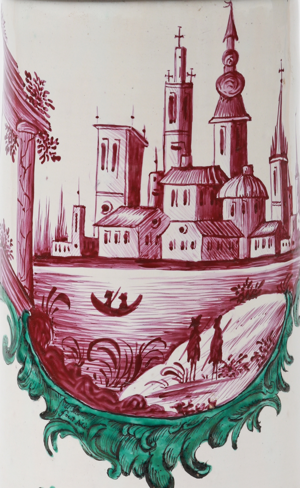 Arsenius Germain Welser Hausmalerkrug um 1773 Kartusche