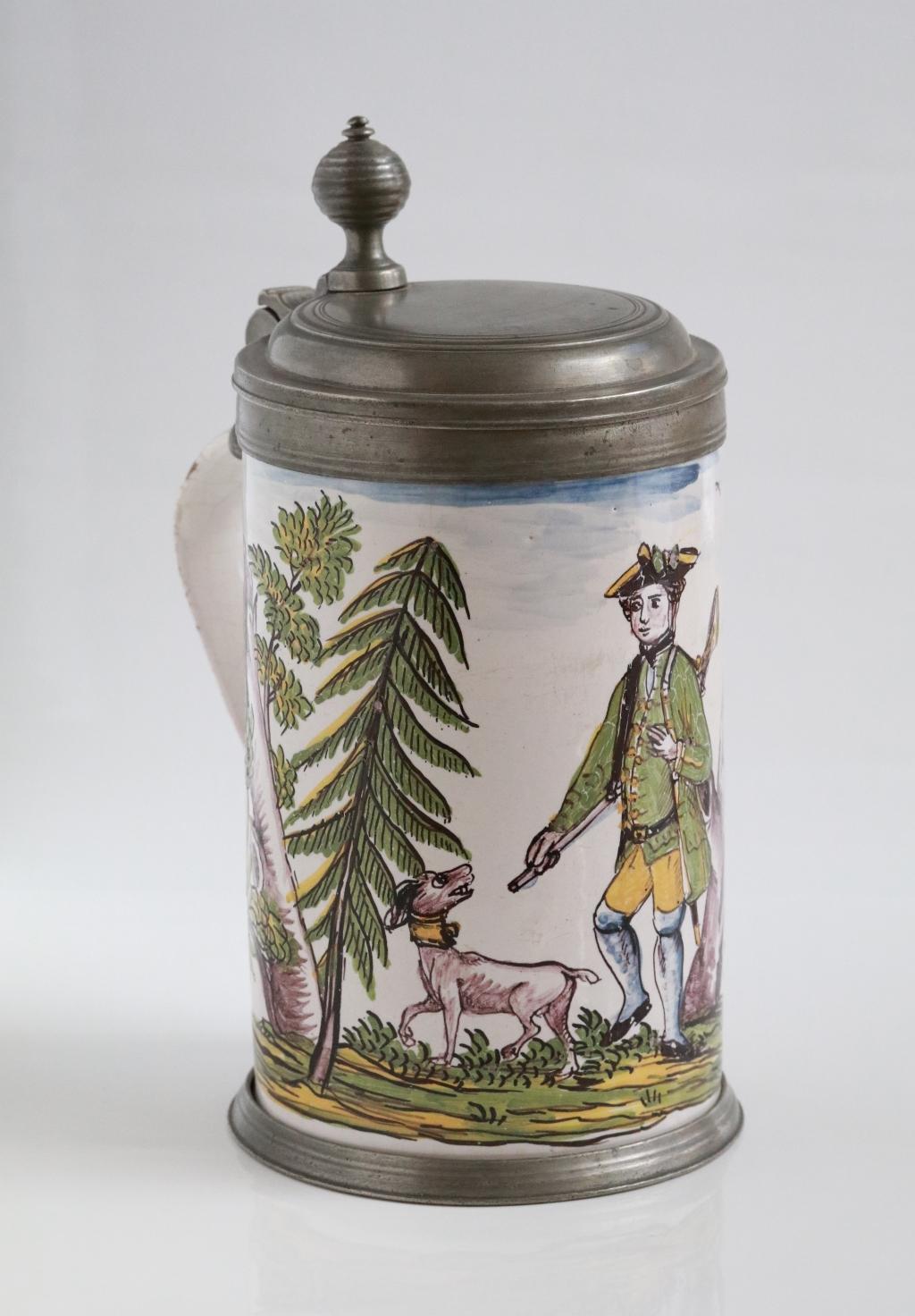 Crailsheimer Fayence Jagdkrug um 1770