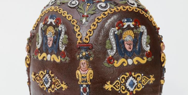 Creussener Flasche Stoneware Stein Flask Emailfarben um 1625