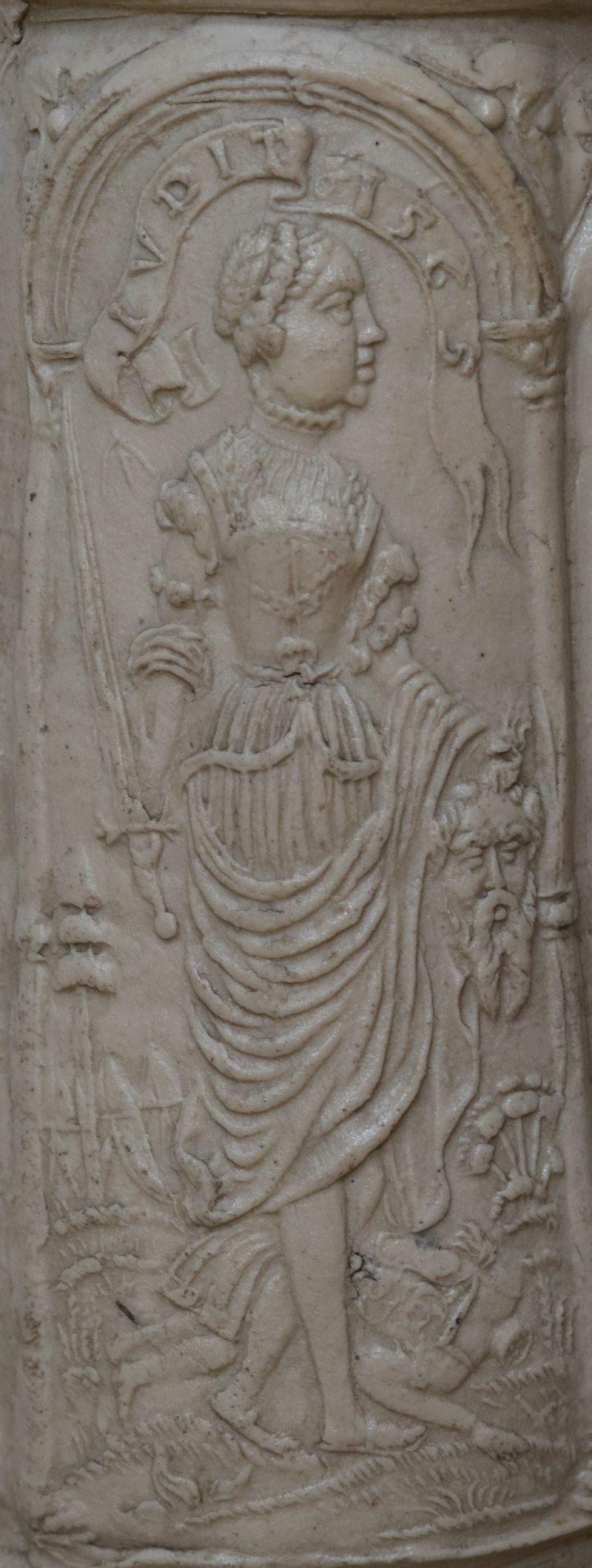Details saltglazed stoneware Siegburger Schnelle 1565 datiert Auflage Judith