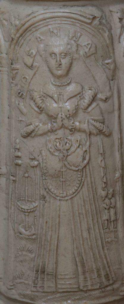 Details saltglazed stoneware Siegburger Schnelle 1565 datiert Auflage Susanna