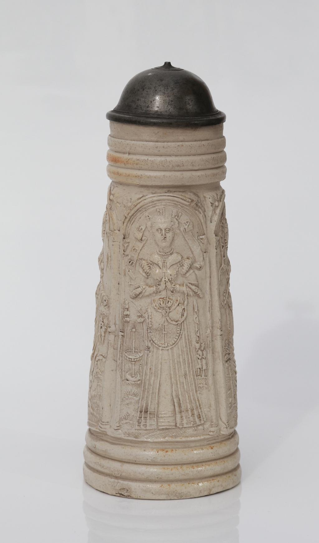 Siegburg salt glazed stoneware Flagon dated 1565