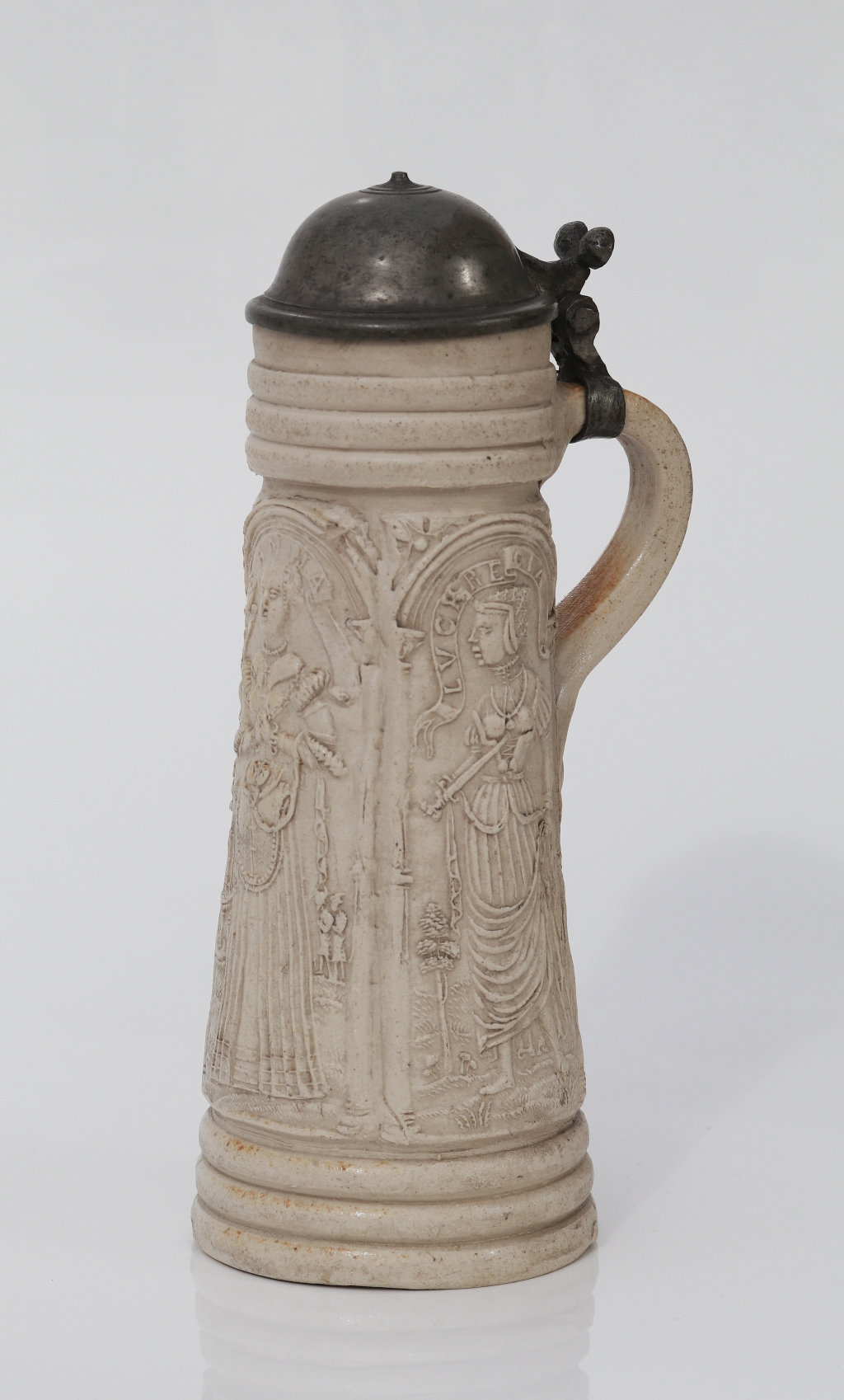 16th century stoneware Siegburg Flagon date 1565 with applied reliefs