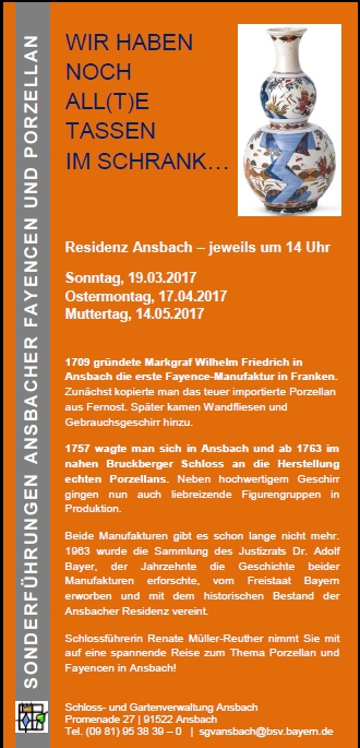 WIR HABEN NOCH ALL(T)E TASSEN IM SCHRANK...Residenz Ansbach 2017