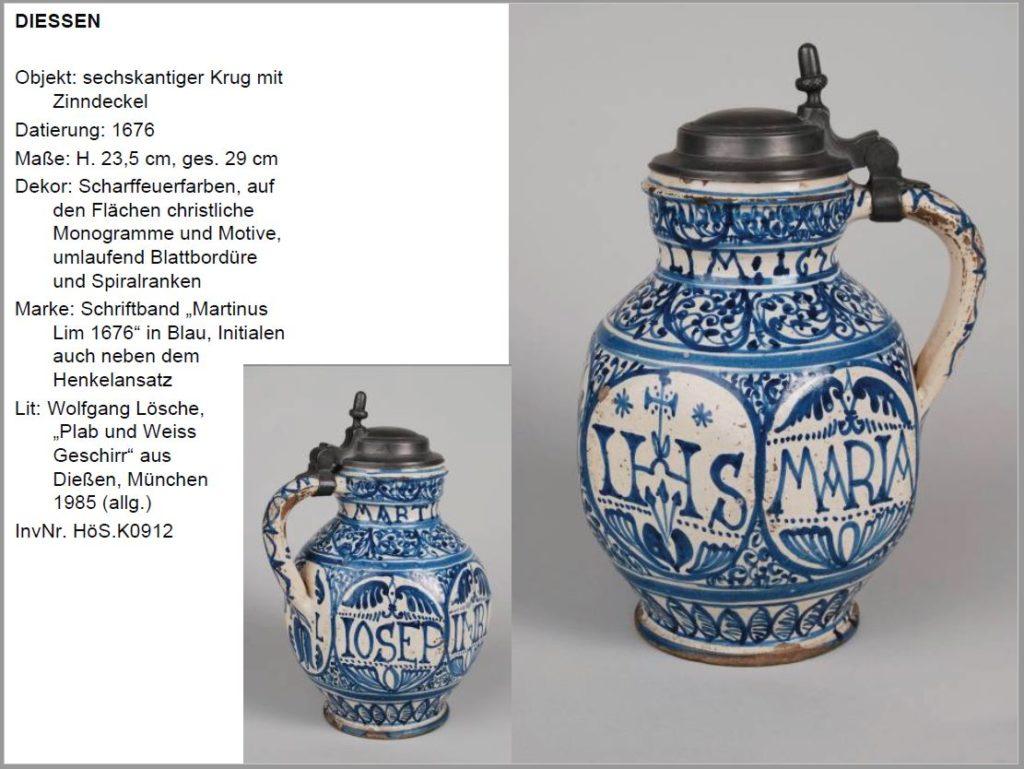 diessen fayence krug 1776 datiert museum deutscher fayencen