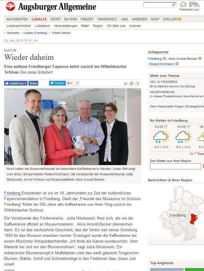 Augsburger Allgemeine A. Schubert Friedberger Kaffeekanne 29.05.2015