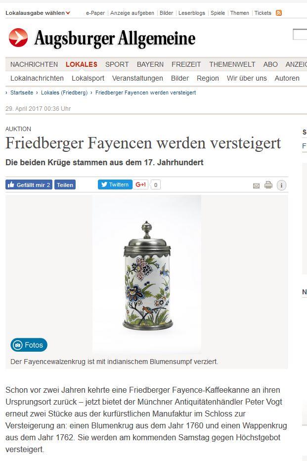 Augsburger Allgemeine Friedberger Fayence 29. 04. 2017