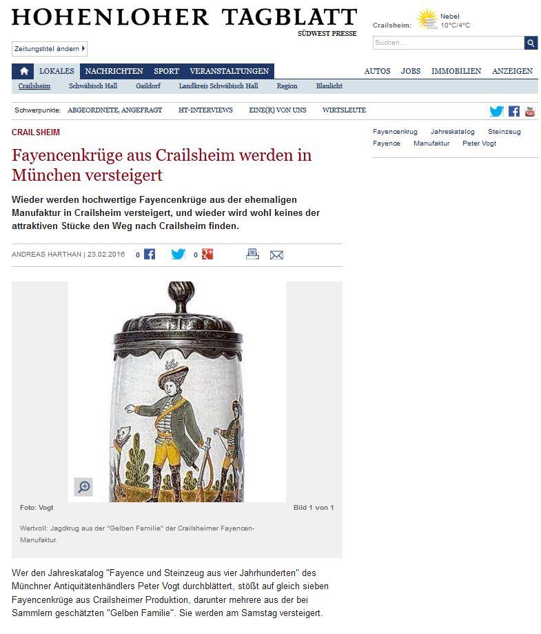 Hohenloher Tagblatt Andreas Harthan Crailsheim Fayence 23.02.2016