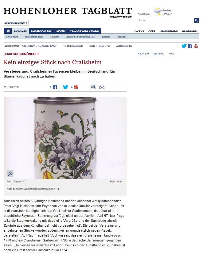 Hohenloher Tagblatt Crailsheimer Fayencen 10.05.2017