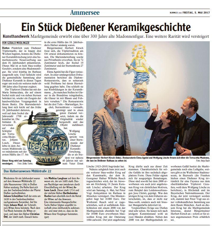 Landsberger Tagblatt Ammersee 05.05.17 Diessener Keramik