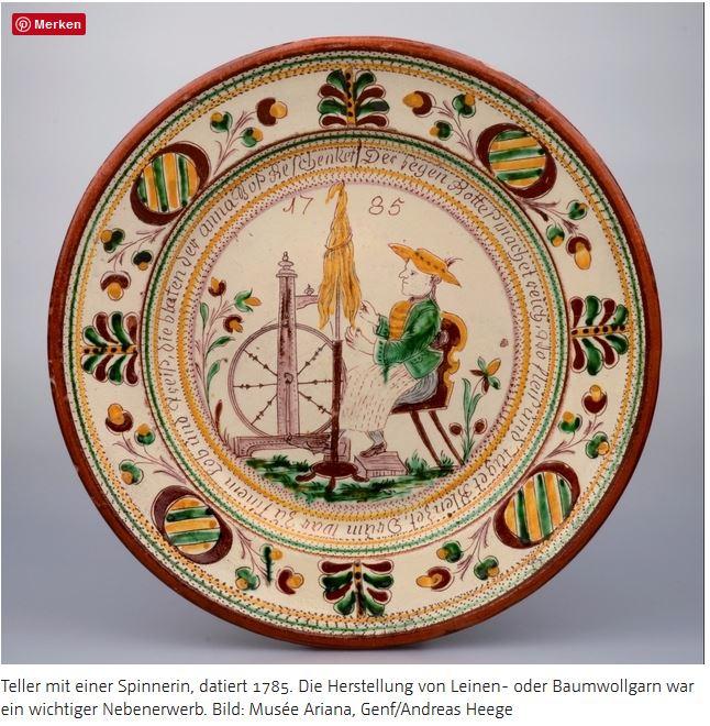 Langnau Teller mit Spinnerin 1785 datiert Musee Ariana Genf