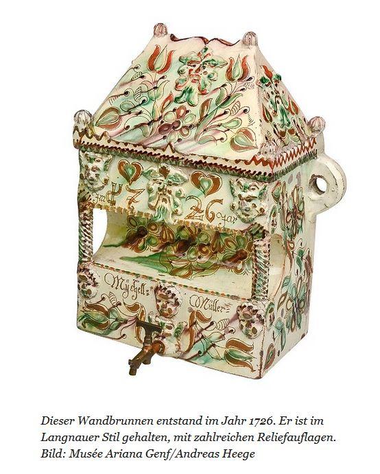 Wandbrunnen Hafnerware vielleicht Langnau Schweiz ca. 1726