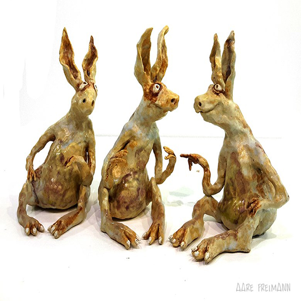 e Freimann 3 Rabbits sculpture