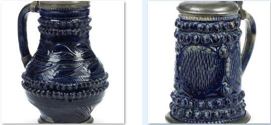 Muskauer Steinzeugkrug Kobalt 17. JH