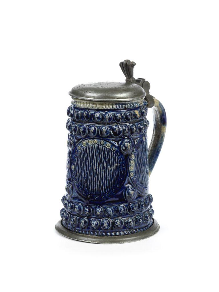 17th century saltglazed stoneware Muskau Walzenkrug um 1663, mit einer Görlitzer Zinnmontierung