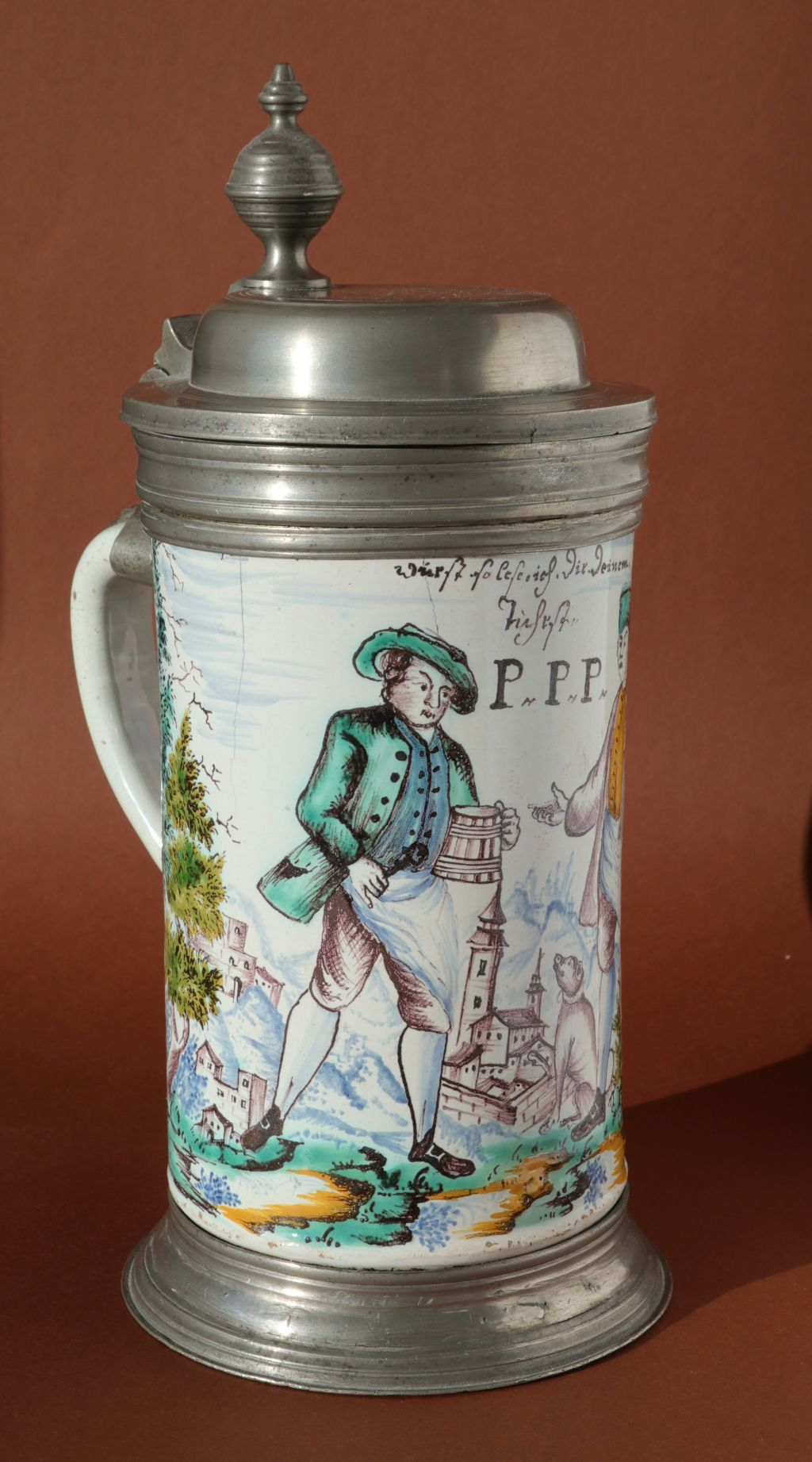 18th century austrian faience guilt tankard dated 1766