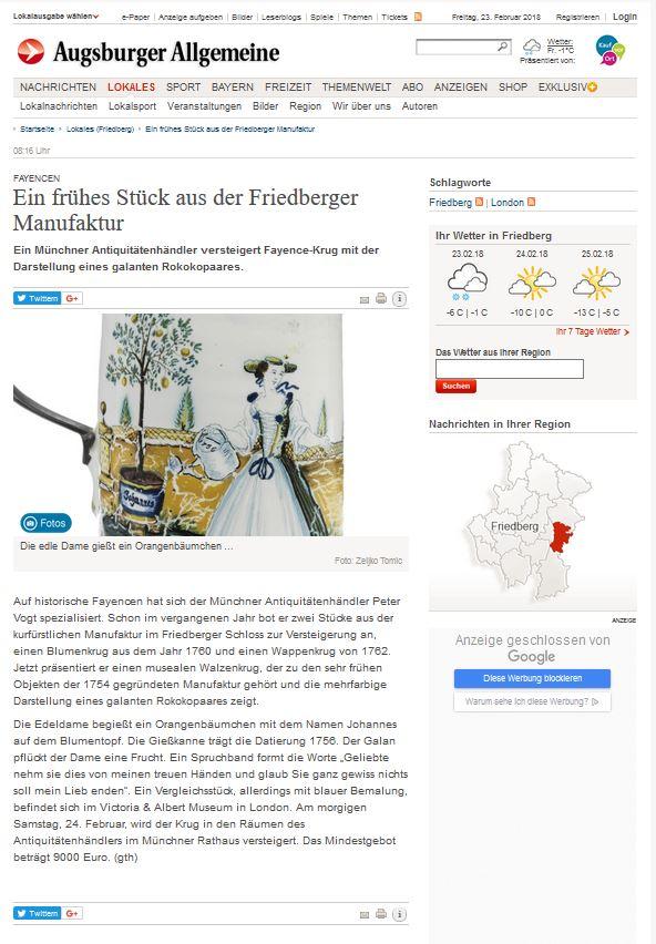 Augsburger Allgemeine 23 -02-18 friedberger fayence