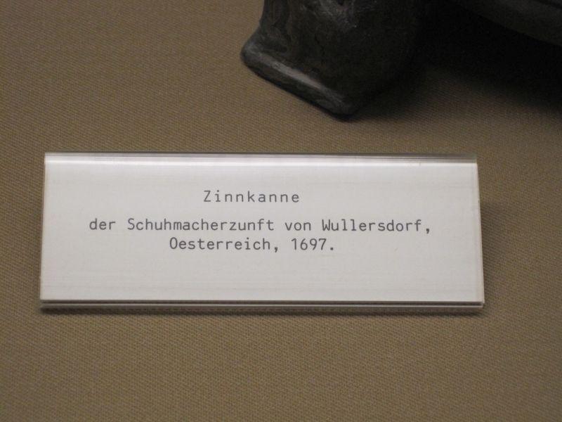 Bally Schuhmuseum Bezeichnung Zinnkanne Wullersdorf 1697