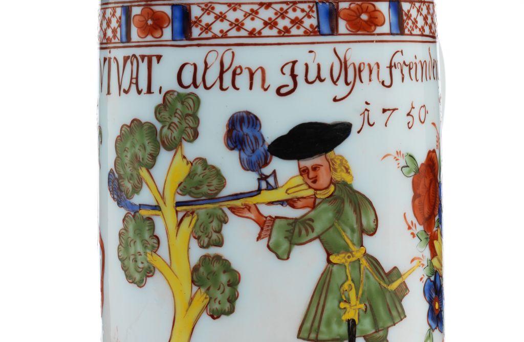 Boehmischer Milchglaskrug Jagdmotiv 1750 datiert