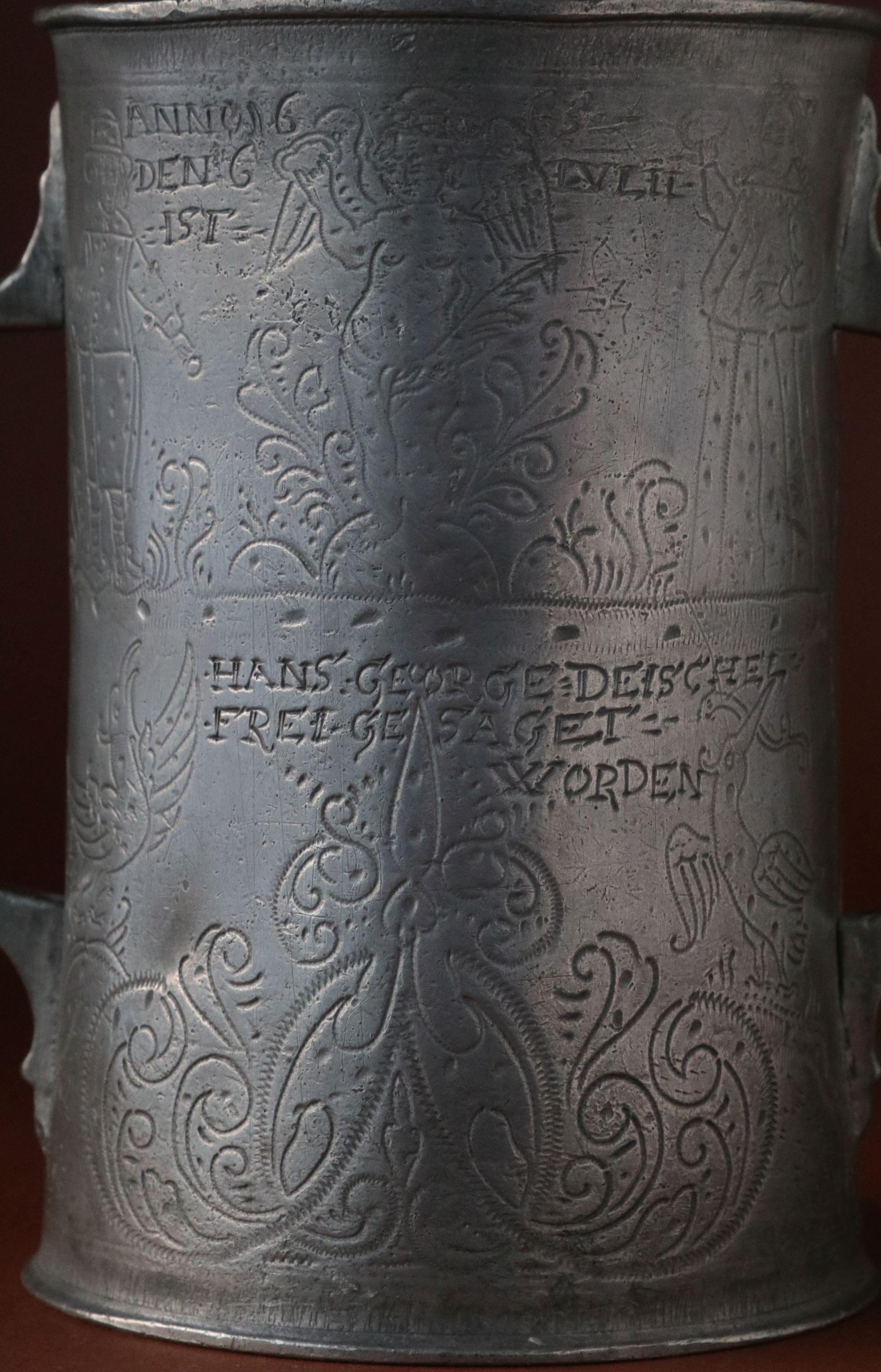 Schlesischer Doppelhenkelkrug Schuster Zunft 1665 dat