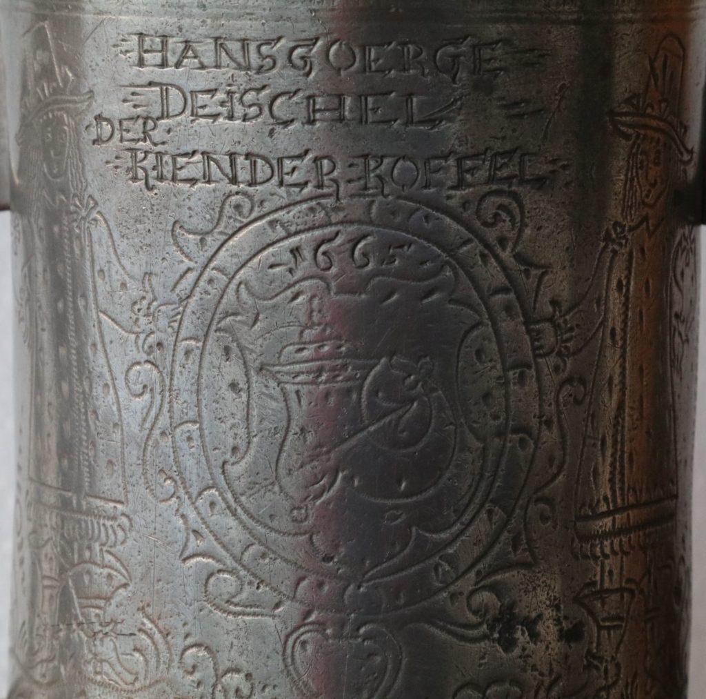 Schlesischer Doppelhenkelkrug Schusterzunft 1665 datiert