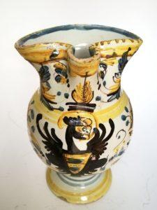 Italian maiolica armorial jug eagle crest, Pesaro, 18th century