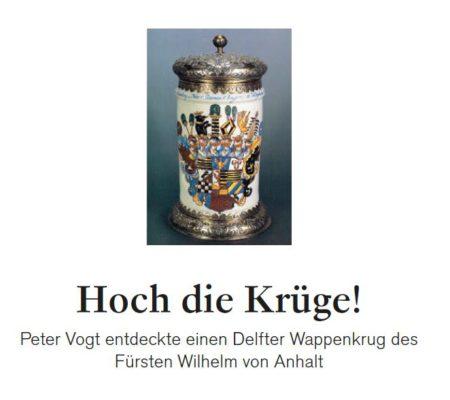 Kunst und Auktionen Fund meines Lebens Peter Vogt Delfter Wappenkrug