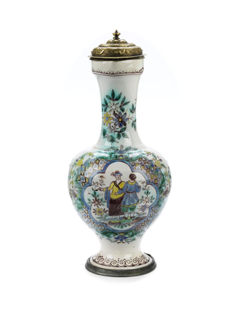 Ansbach narrow necked faience jug ca. 1740 Famille verte