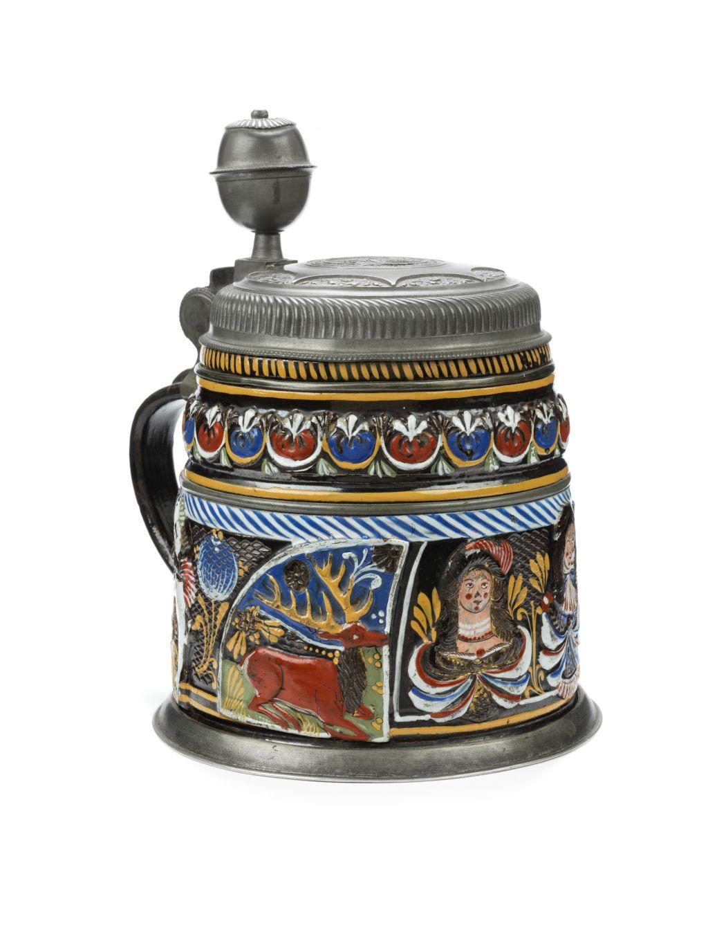 17th century Annaberg Dippoldiswalde Saltglazed Stoneware Tankard ca. 1680