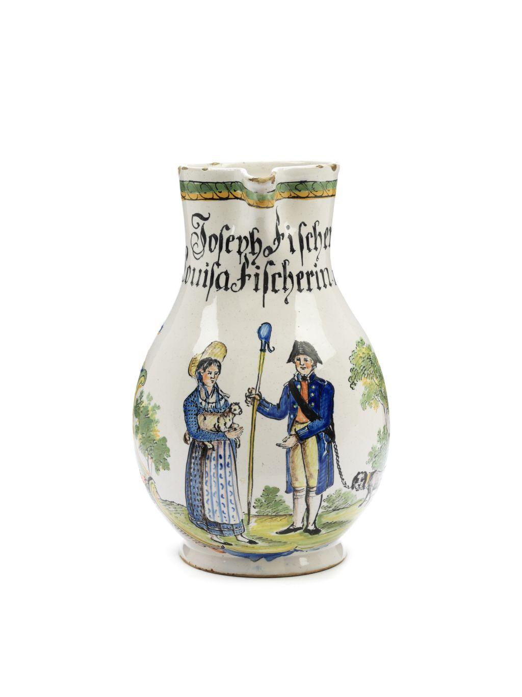 Durlacher Fayence Hochzeitskrug 1820 datiert