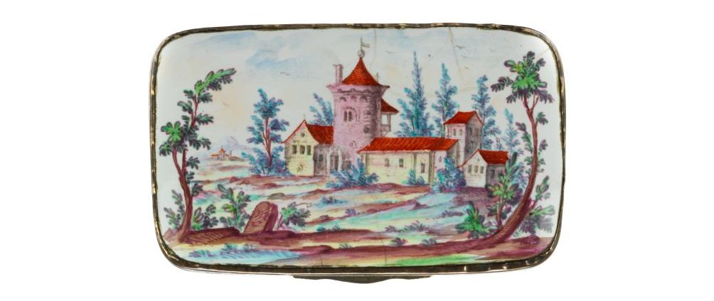 Ellwanger Emaildose um 1770 Deckel Andreas Bechdolff