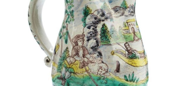 118th century Gmunden Faience Wedding Jug dated 1764 Detail