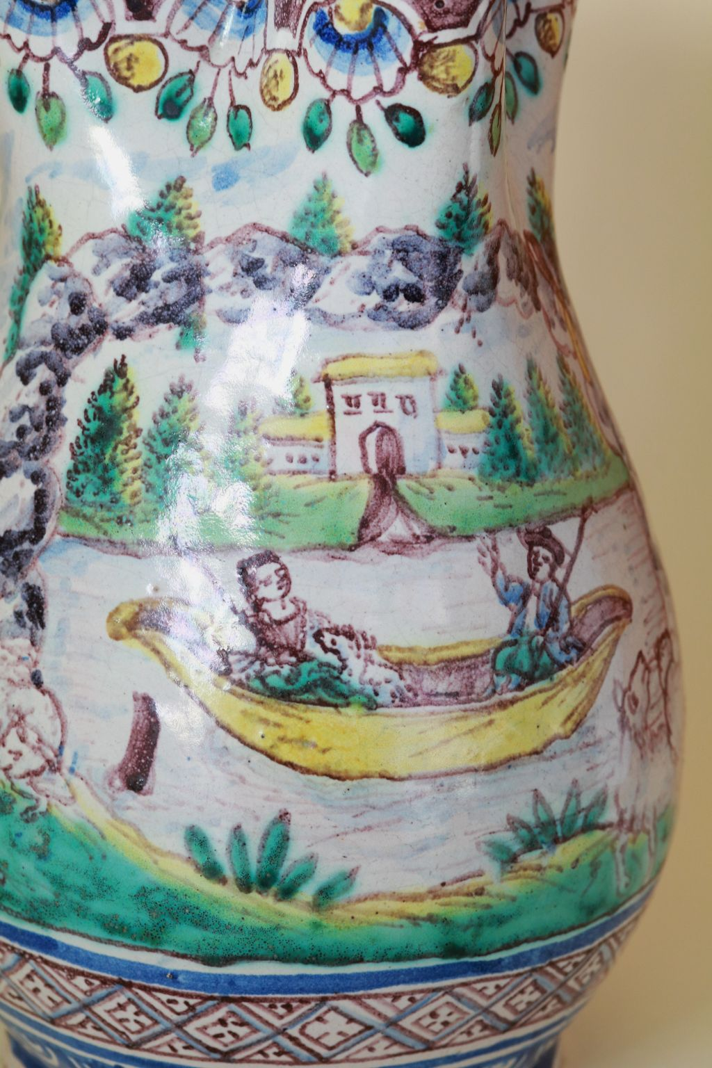 18th century Gmunden Faience Wedding Jug dated 1764
