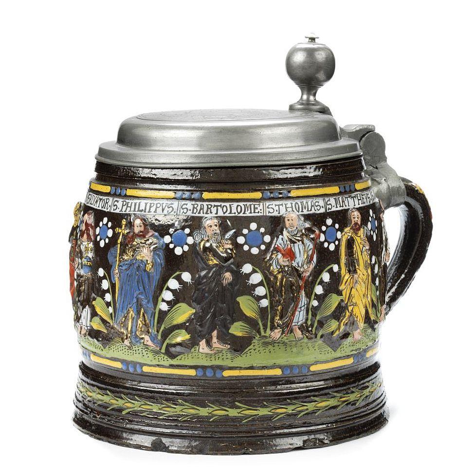 Antique 17th century ceramics Stoneware Creussen Apostelkrug