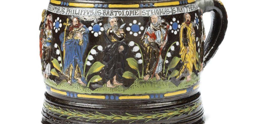 Antique Creussen Stoneware Apostelkrug 17th century art