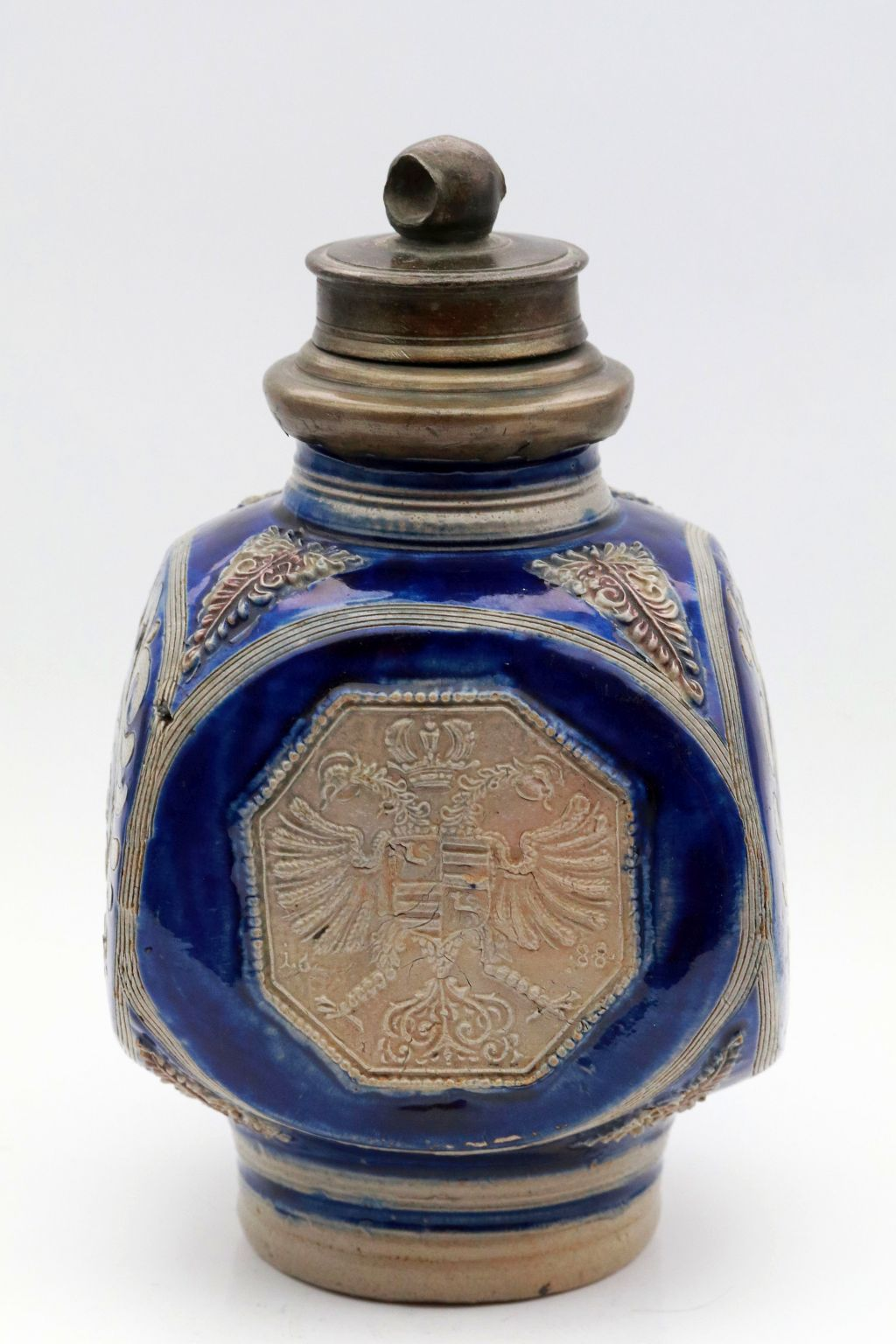 17th century Westerwald saltglazed stoneware flask dated 1688 code of arms