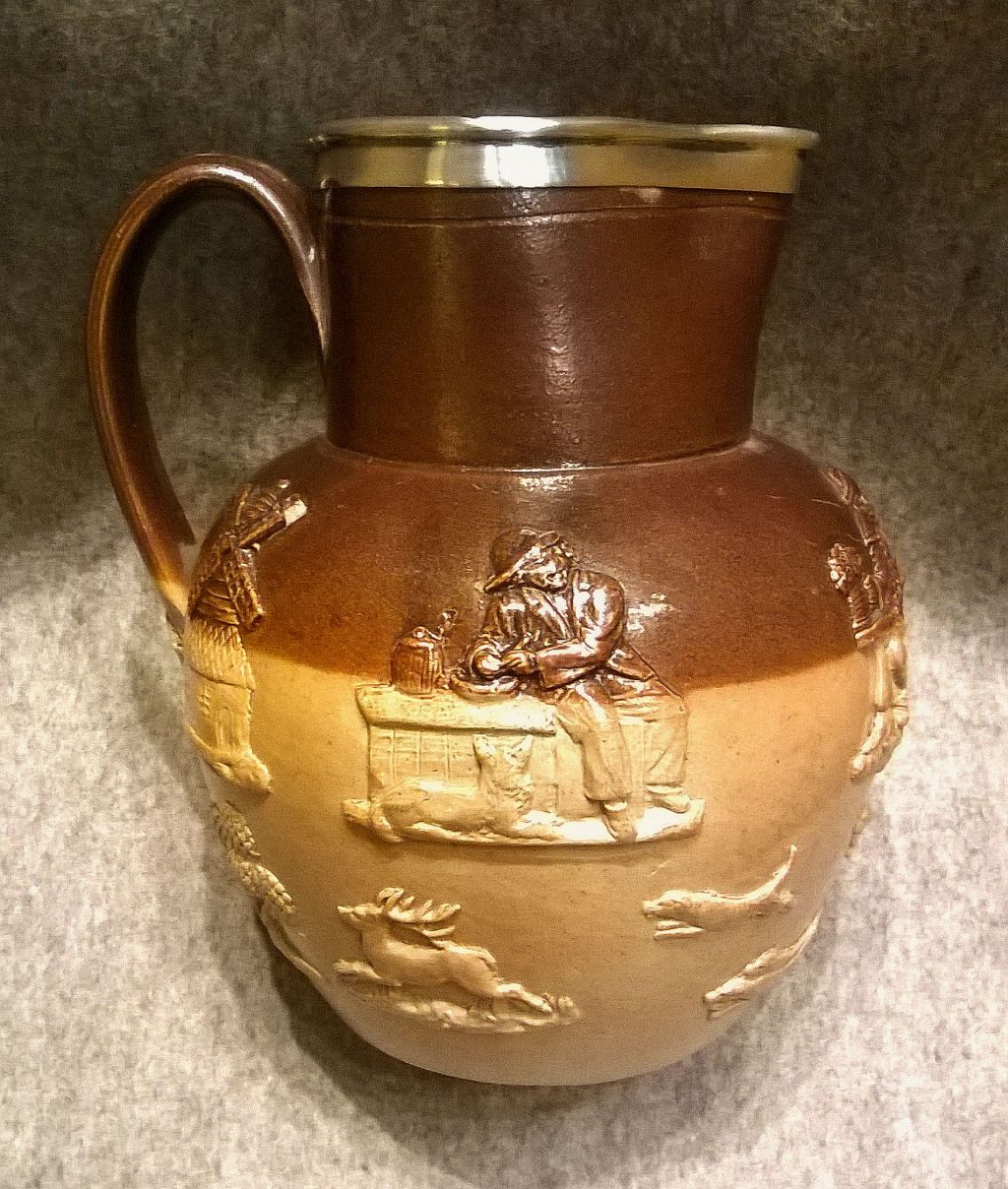 Antique Doulton Lambeth Stoneware Hunting Jug ca.1870