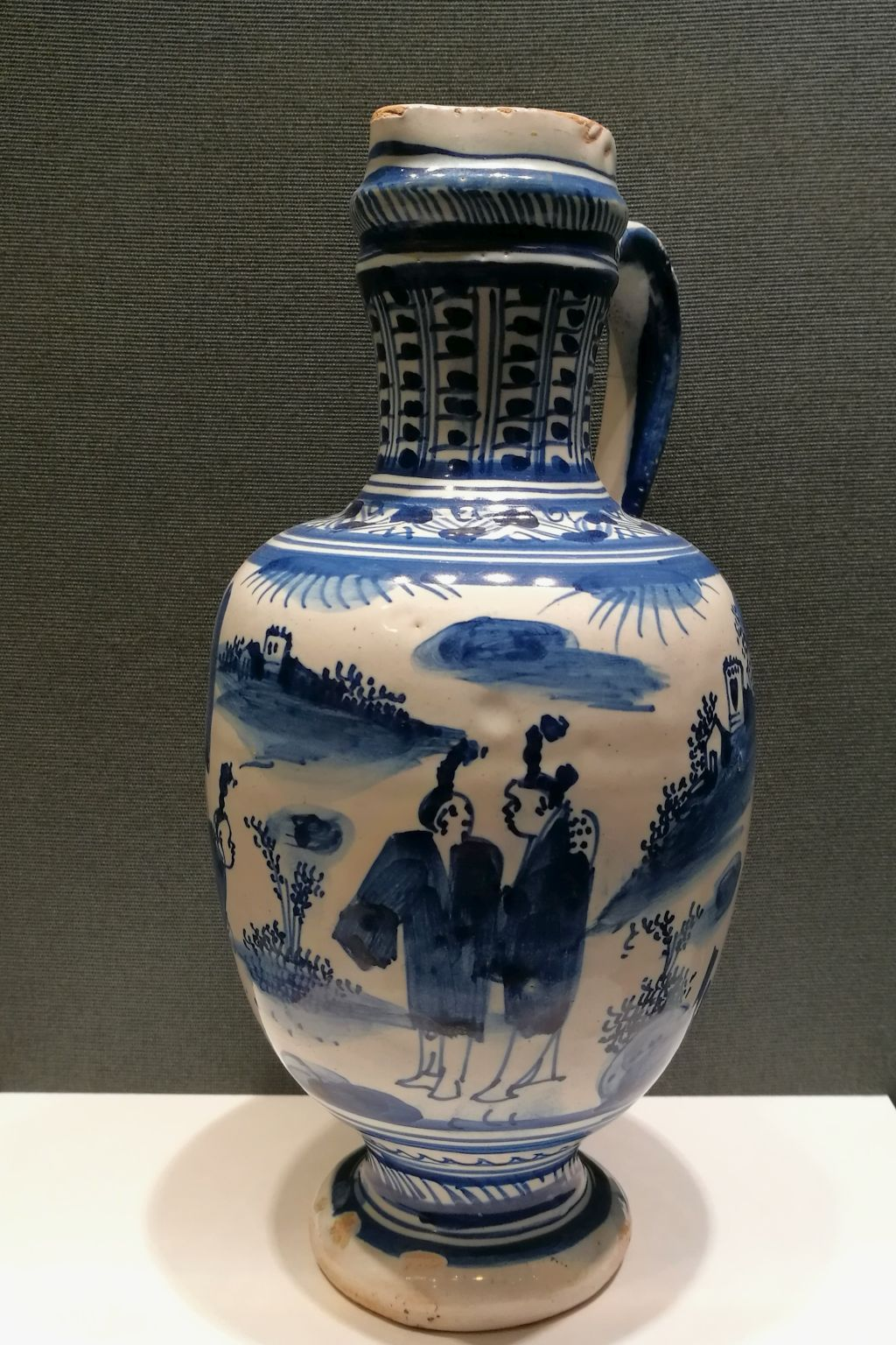 17th century delft blue and white faience chinoiserie jug ca. 1640